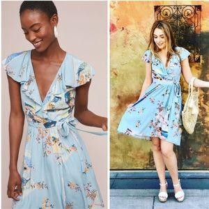 Anthropologie Maeve Rosalia Dress Wrap Floral Blue